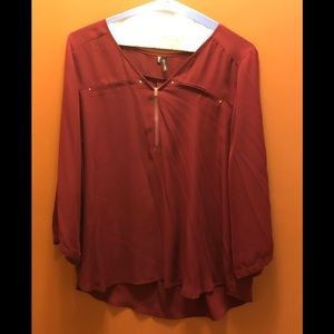 Wine Colored Sheer Top